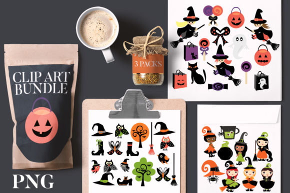 Print on Demand: Halloween Witch Party Bundle Graphic Illustrations By Revidevi
