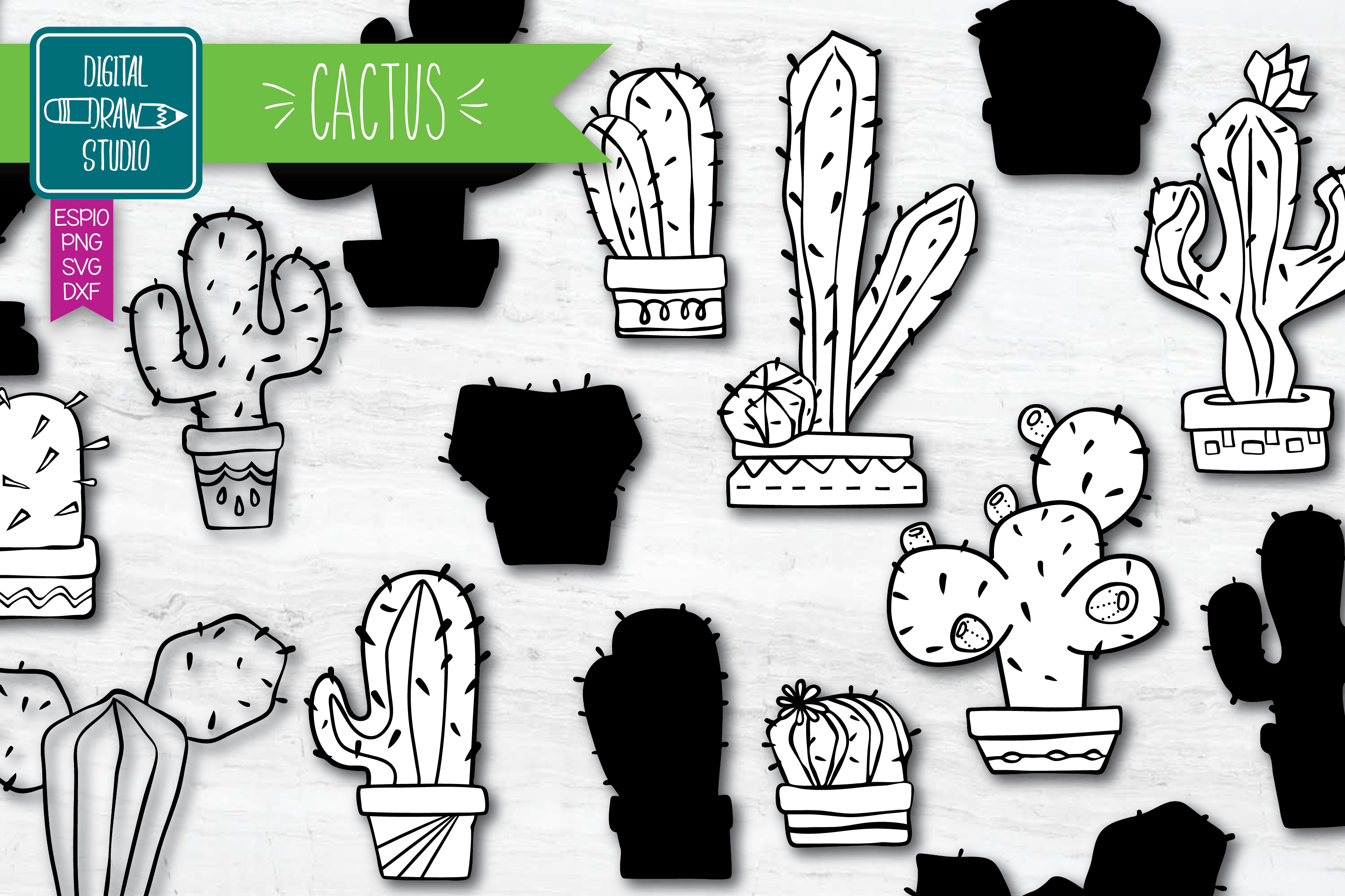 Download Free Hand Drawn Cactus House Plants In Pots Graphic By Carmela Giordano Creative Fabrica for Cricut Explore, Silhouette and other cutting machines.