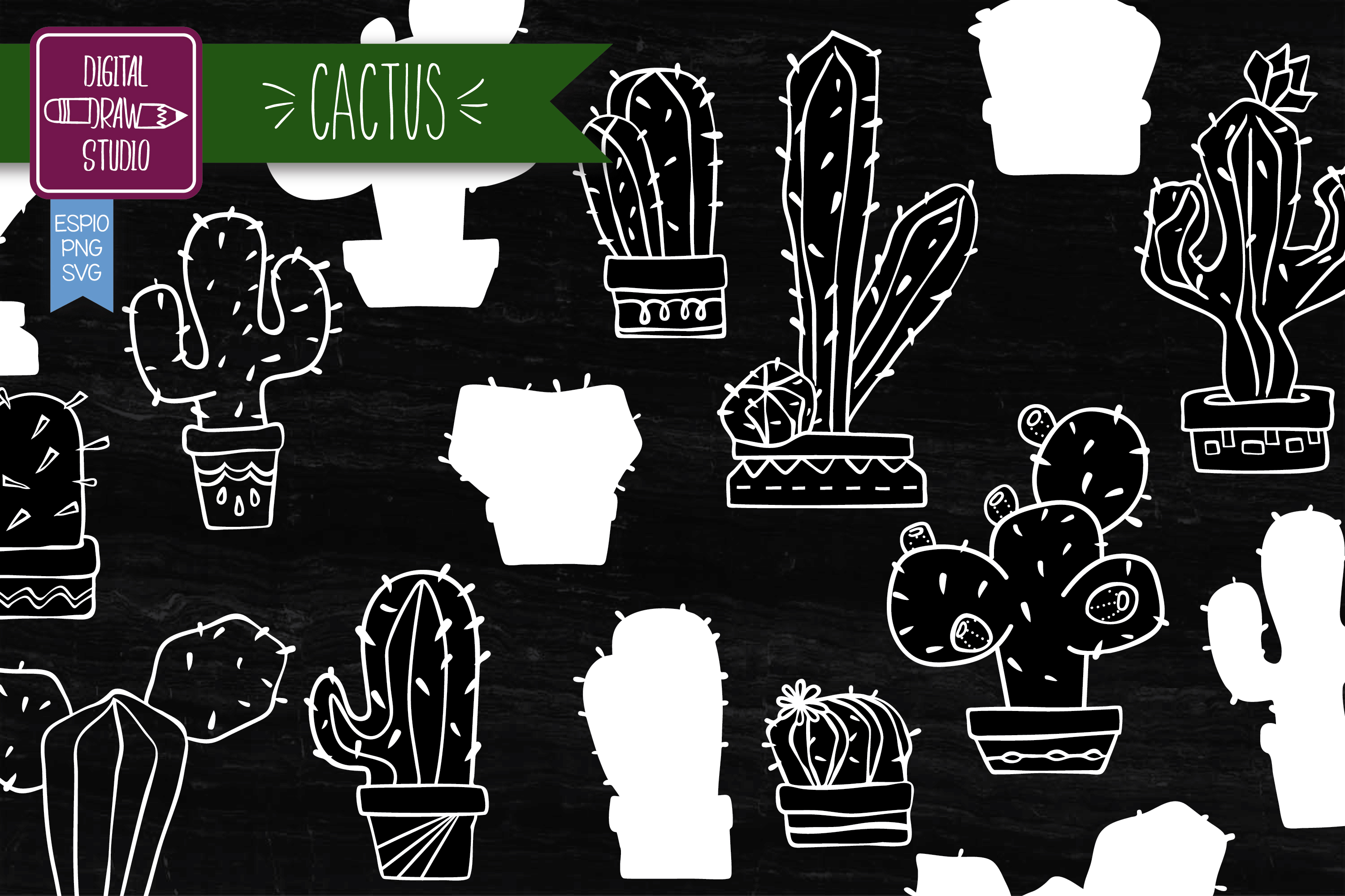 Download Free Hand Drawn Cactus White House Plants Graphic By for Cricut Explore, Silhouette and other cutting machines.