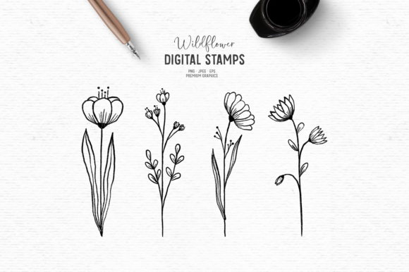 Print on Demand: Hand-drawn Floral Digital Stamps Graphic Illustrations By Wallifyer
