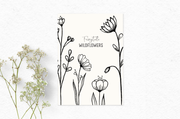 Download Free Hand Drawn Floral Digital Stamps Graphic By Wallifyer Creative for Cricut Explore, Silhouette and other cutting machines.