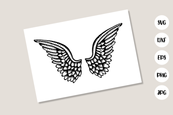 Download Free Heavenly Angelic Wings Graphic By Prawny Creative Fabrica for Cricut Explore, Silhouette and other cutting machines.