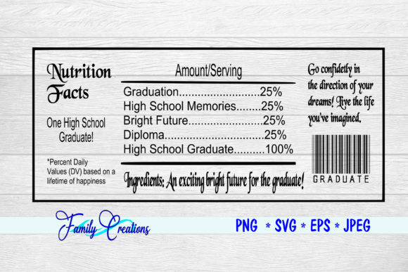 Download Free High School Graduate Nutrition Label Graphic By Family Creations for Cricut Explore, Silhouette and other cutting machines.