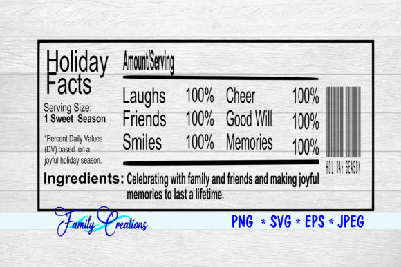 Holiday Facts Nutrition Label Graphic Crafts By Family Creations
