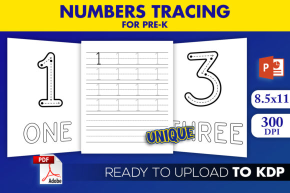 Download Free Kdp Interior Numbers Tracing For Pre K Graphic By Beast Designer for Cricut Explore, Silhouette and other cutting machines.