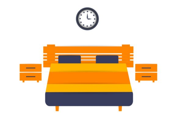Download Free King Size Bed Two Nightstands And Clock Graphic By Kapitosh for Cricut Explore, Silhouette and other cutting machines.
