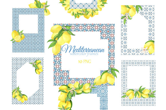 Download Free Mediterranean Tiles Frame With Lemons Graphic By S Yanyeva for Cricut Explore, Silhouette and other cutting machines.