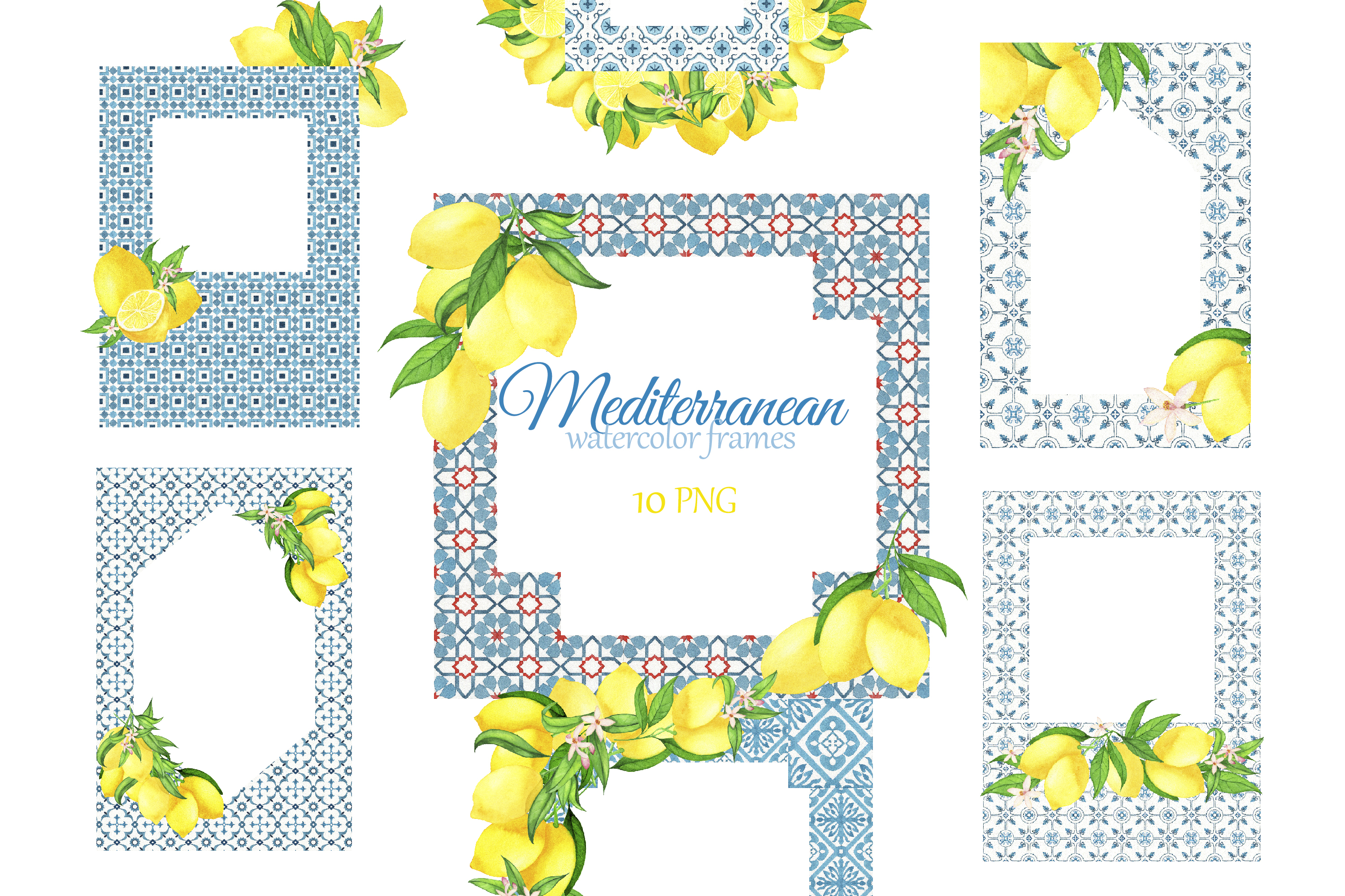 Download Free Mediterranean Tiles Frame With Lemons Graphic By S Yanyeva Creative Fabrica for Cricut Explore, Silhouette and other cutting machines.