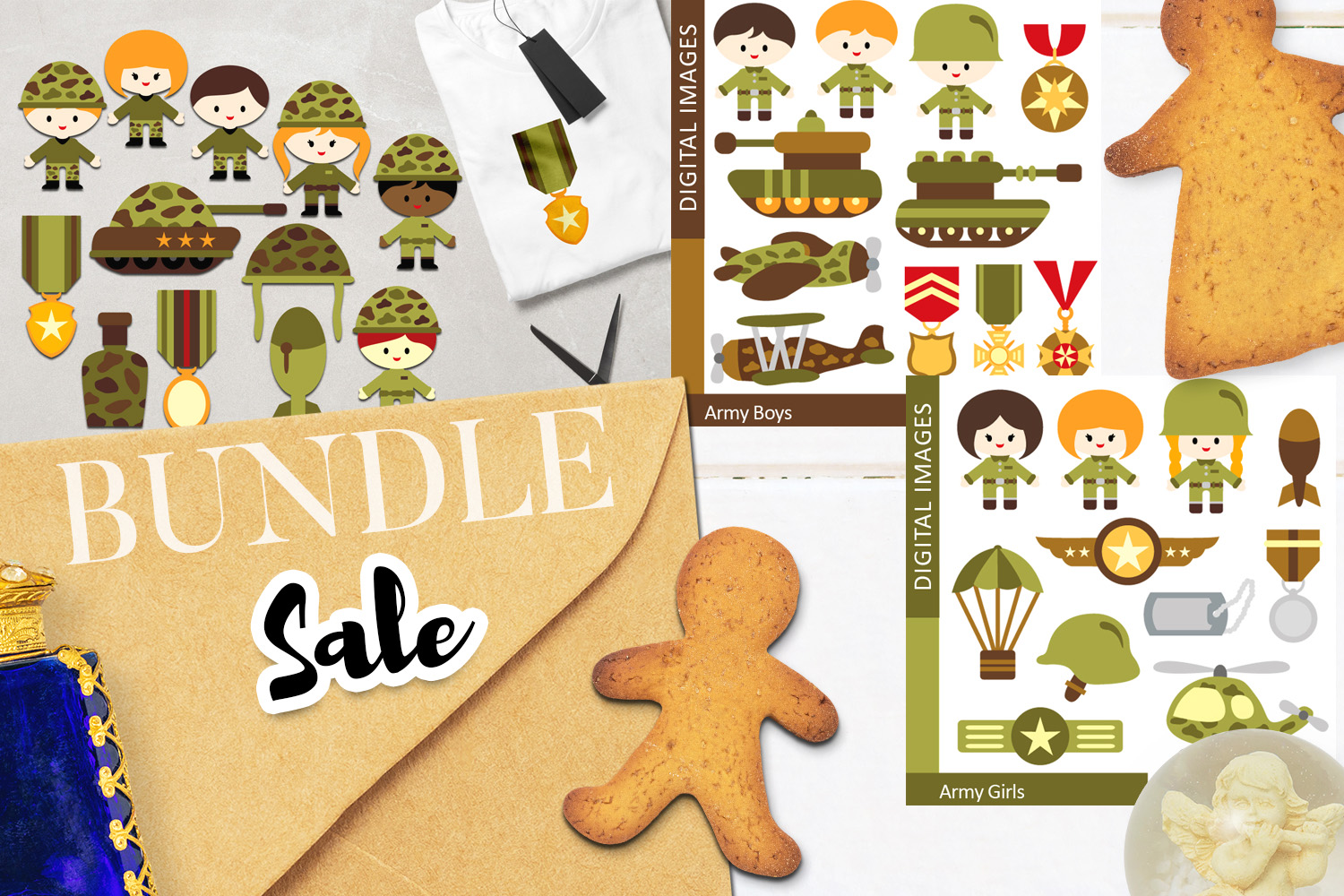 Download Free Military Army Kids Bundle Graphic By Revidevi Creative Fabrica for Cricut Explore, Silhouette and other cutting machines.