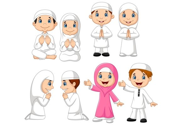 Download Free Muslim Children Clipart Set Graphic Graphic By Tigatelusiji for Cricut Explore, Silhouette and other cutting machines.