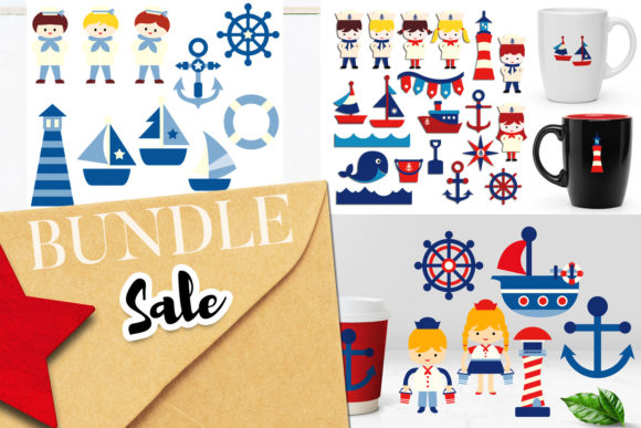 Print on Demand: Nautical Clip Art Bundle Graphic Illustrations By Revidevi