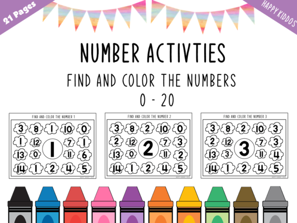 Number Activities: Find the Numbers 0-20 Graphic K By Happy Kiddos