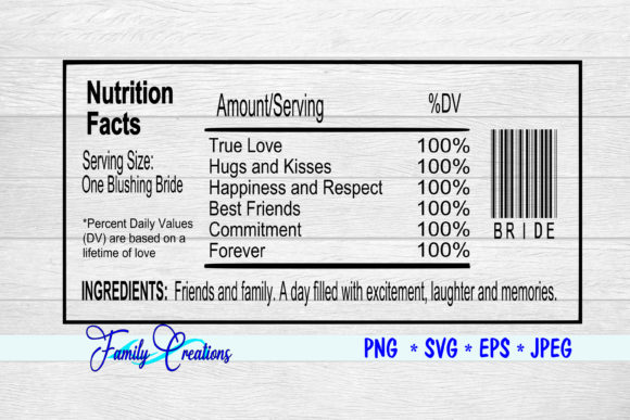 One Blushing Bride Nutrition Label Graphic Crafts By Family Creations