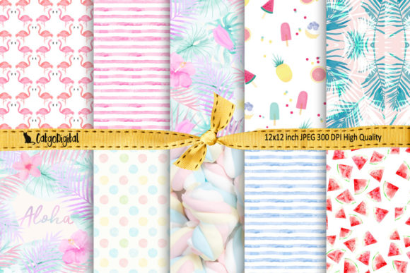 Print on Demand: Pastel Summer Digital Paper Scrapbooking Graphic Crafts By CatgoDigital
