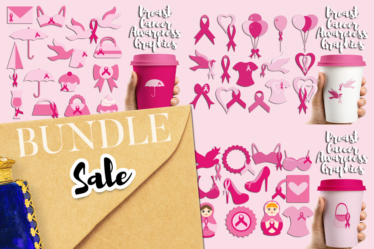 Download Free Pink Ribbon Day Bundle Graphic By Revidevi Creative Fabrica for Cricut Explore, Silhouette and other cutting machines.