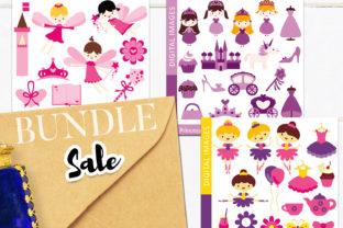Print on Demand: Pink Purple Girl Party Bundle Graphic Illustrations By Revidevi