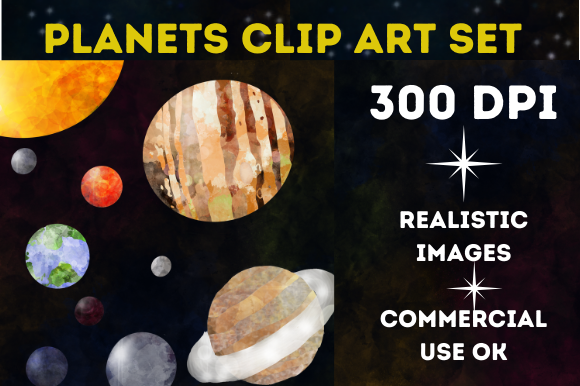 Planetarium Planets Space Clip Art Set Graphic Illustrations By mamamagpie
