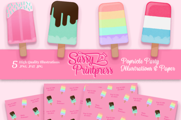 Popsicle Party Clipart Collection Graphic Illustrations By Sassy Printpress