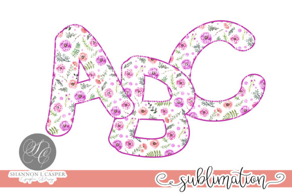 Print on Demand: Purple Floral Chunky Letters and Numbers Graphic Illustrations By Shannon Casper