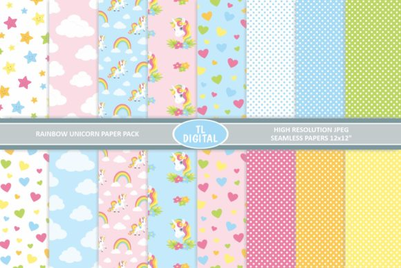 Download Free Rainbow Unicorn Paper Pack 16 Patterns Graphic By Tl Digital for Cricut Explore, Silhouette and other cutting machines.