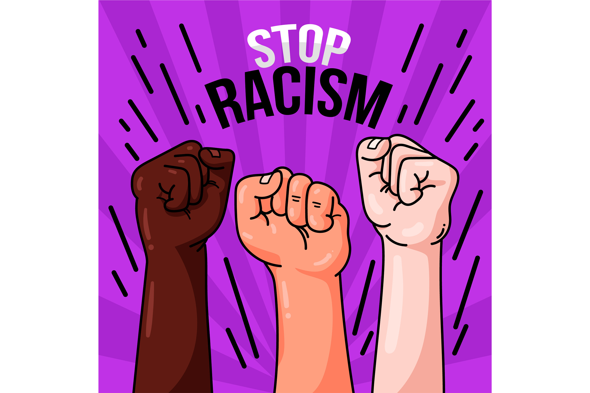 Download Free Raising Fists Stop Racism Graphic By Miss Chatz Creative Fabrica for Cricut Explore, Silhouette and other cutting machines.