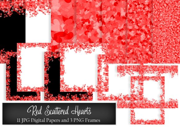 Download Free Red Scattered Hearts Digital Paper Graphic By Simply Paper Craft for Cricut Explore, Silhouette and other cutting machines.