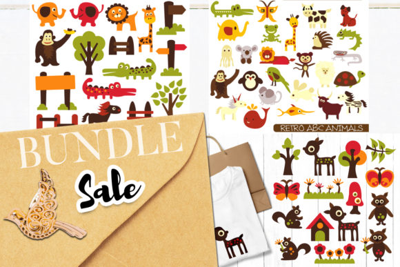 Download Free Retro Animals Bundle Graphic By Revidevi Creative Fabrica for Cricut Explore, Silhouette and other cutting machines.