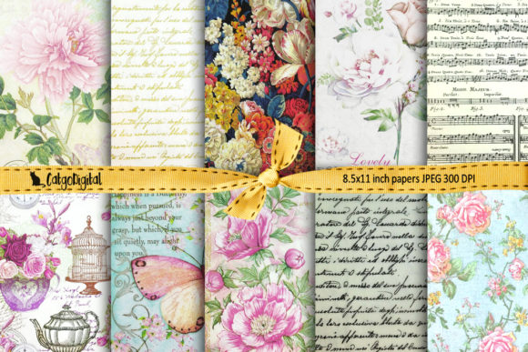Print on Demand: Romantic Scrapbooking Printable Papers Graphic Crafts By CatgoDigital