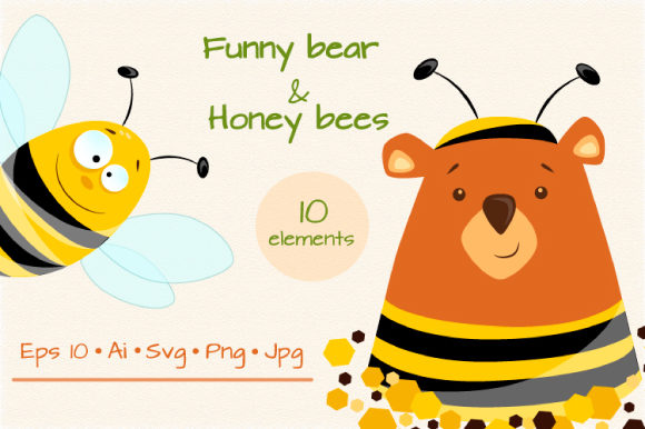 "Set of Bear and Honey Bees Graphic Illustrations By Design studio ""Create with joy"""