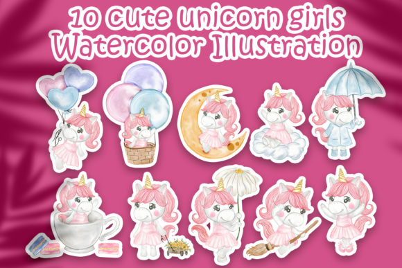 Print on Demand: Set of Cute Unicorn Girls Watercolor Graphic Illustrations By OrchidArt