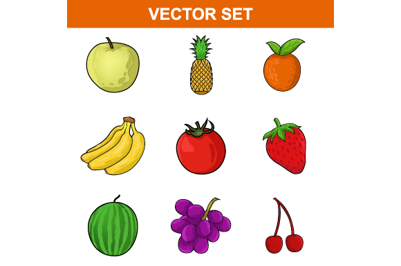 Set of Collection Fruit Vector Graphic Food & Drinks By ninik.studio