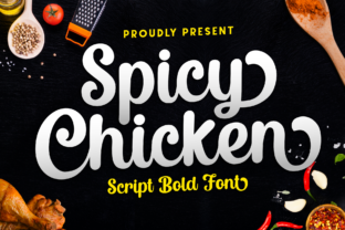 Print on Demand: Spicy Chicken Manuscrita Fuente Por Holydie Studio