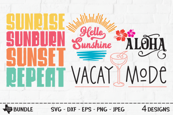 Print on Demand: Summer Bundle - Summer Shirt Designs Grafik Plotterdateien von texassoutherncuts