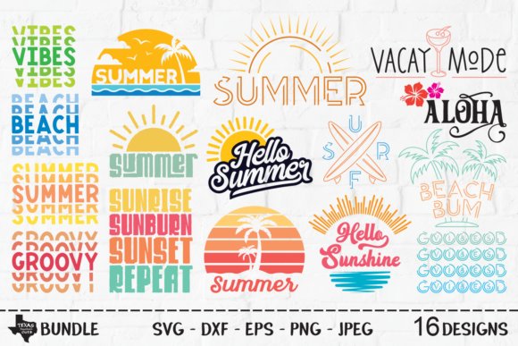 Print on Demand: Summer Super Bundle - Summer Designs Grafik Plotterdateien von texassoutherncuts