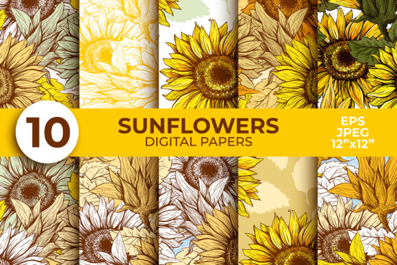 Sunflower Digital Paper Thanksgiving Graphic Patterns By ilonitta.r