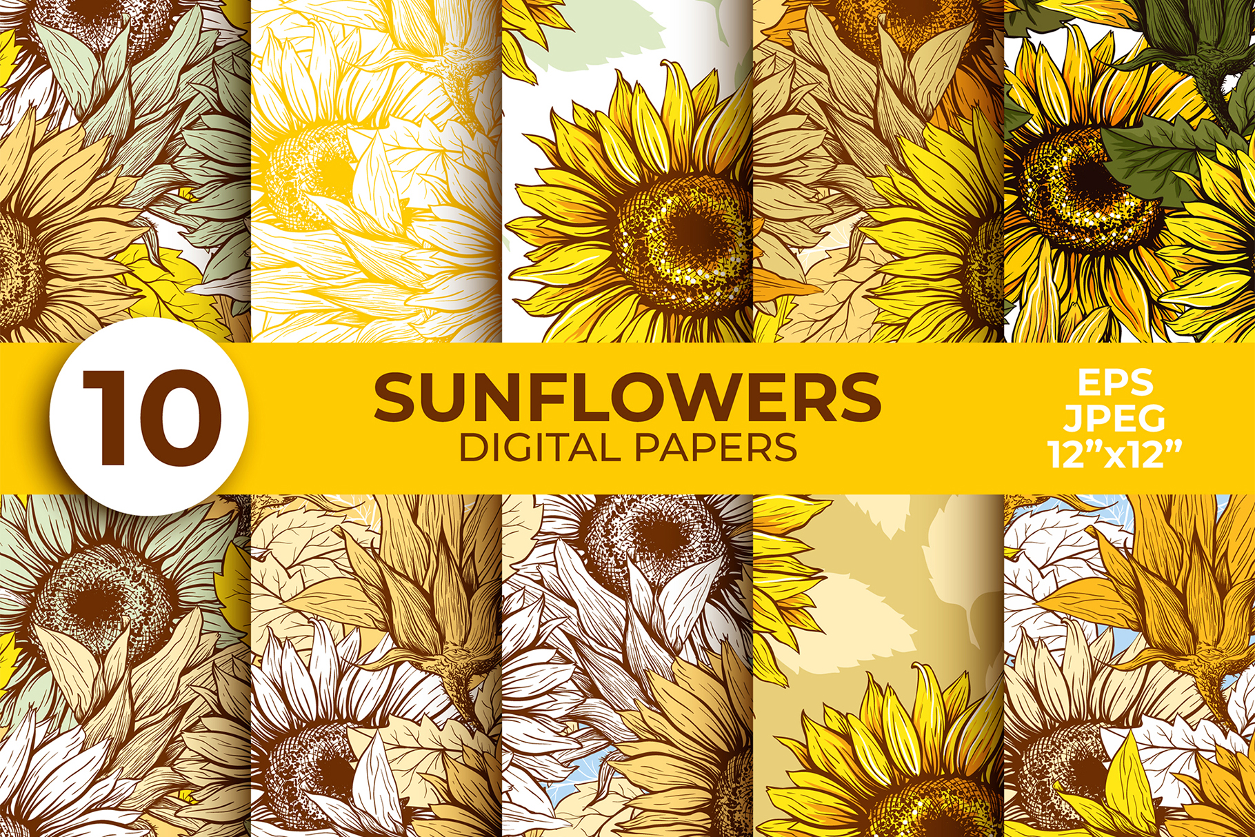 Download Free Sunflower Digital Paper Thanksgiving Graphic By Ilonitta R SVG Cut Files