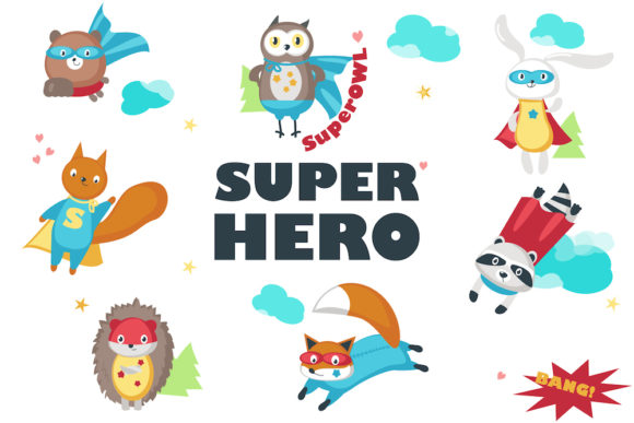Superhero Animals Isolated & Pattern Graphic Illustrations By SiberianArt