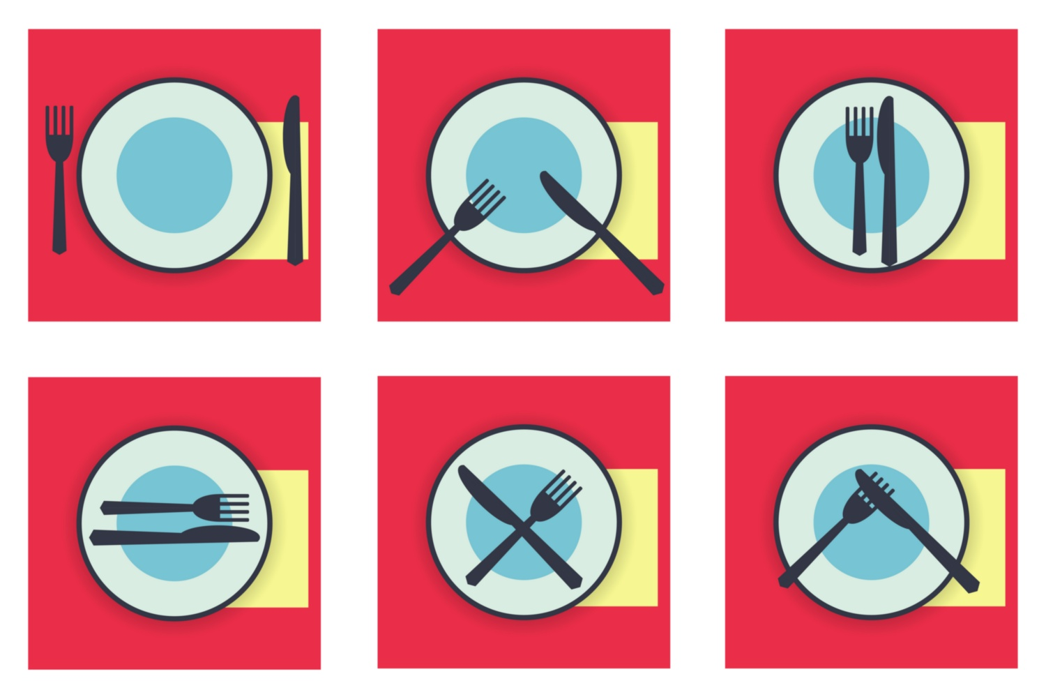 Download Free Table Etiquette Icons Set Knife And Fork Graphic By Kapitosh for Cricut Explore, Silhouette and other cutting machines.