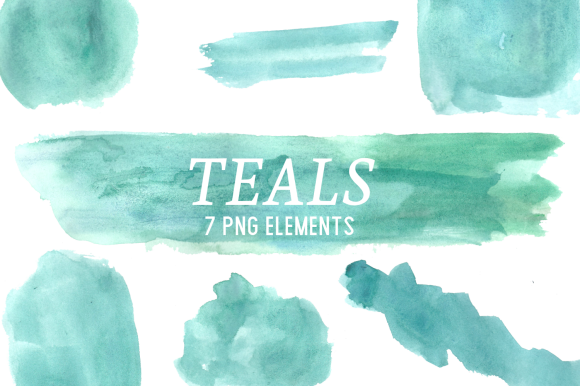 Print on Demand: Teal Watercolor Splashes Clipart Set Graphic Illustrations By roselocket