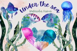 Print on Demand: Under the Sea Watercolor Frames Graphic Illustrations By Andreea Eremia Design