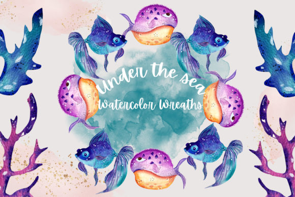Print on Demand: Under the Sea Wreaths Graphic Illustrations By Andreea Eremia Design
