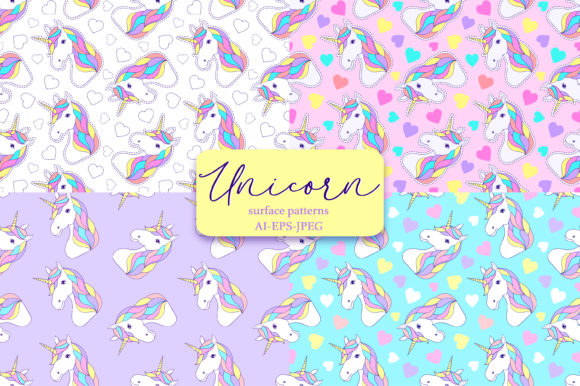 Download Free Unicorns Surface Patterns Graphic By Fatamorganaoptic for Cricut Explore, Silhouette and other cutting machines.
