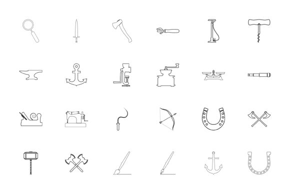 Print on Demand: Vintage Tools and Craft Objects Black Co Graphic Icons By magistr0505