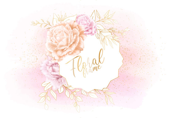 Download Free Watercolor Floral Frame With Gold Graphic By Federiqoend for Cricut Explore, Silhouette and other cutting machines.