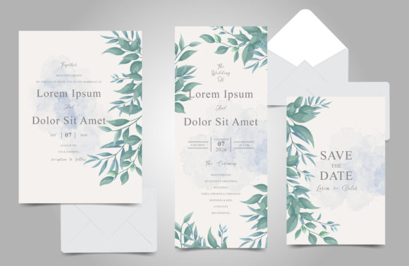 Download Free Watercolor Foliage Wedding Cards Set Graphic By Federiqoend for Cricut Explore, Silhouette and other cutting machines.