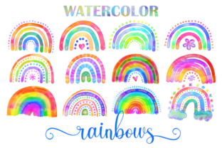 Print on Demand: Watercolor Rainbow Doodle Design Element Graphic Illustrations By Prawny 1