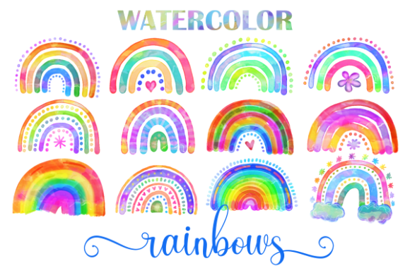 Download Free Watercolor Rainbow Doodle Design Element Graphic By Prawny for Cricut Explore, Silhouette and other cutting machines.