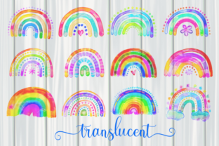 Print on Demand: Watercolor Rainbow Doodle Design Element Graphic Illustrations By Prawny 2