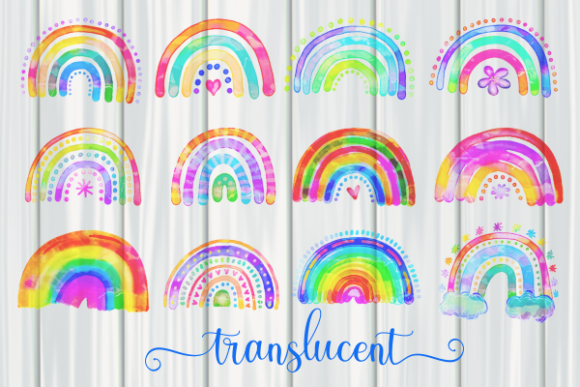 Print on Demand: Watercolor Rainbow Doodle Design Element Graphic Illustrations By Prawny - Image 2