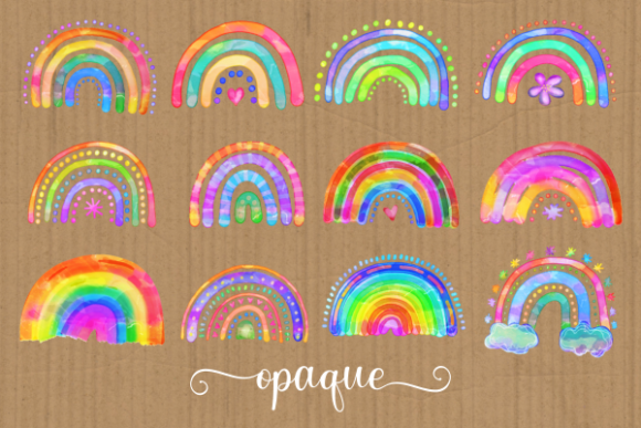 Print on Demand: Watercolor Rainbow Doodle Design Element Graphic Illustrations By Prawny - Image 3